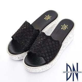 【DN】閃耀夏日 羊絨水鑽造型大底厚底拖鞋(黑)