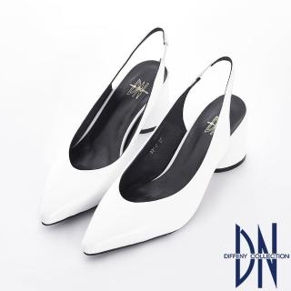 【DN】舒適樂活 真皮素面後拉帶粗跟涼鞋(白)