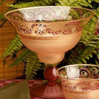 【Madiggan 貝斯麗】托斯卡尼 手工彩繪玻璃高架碗(金紅.金綠可選)