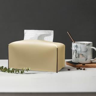 【收納職人】北歐ins創意輕奢皮革面紙盒/收納袋(米白色)