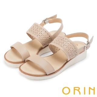 【ORIN】夏日渡假 造型簍空牛皮厚底涼鞋(杏色)