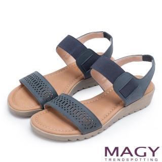 【MAGY】休閒渡假風 寬版幾何簍空牛皮厚底涼鞋(藍色)
