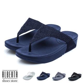 【Alberta】涼拖鞋-水鑽鞋面 防水人字夾腳 4CM厚底 休閒涼拖鞋 夾腳拖鞋