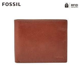 【FOSSIL】Hugh 絕對經典焦糖咖啡真皮RFID短夾 男 #可放零錢ML3987222