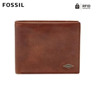 【FOSSIL】Ryan 咖啡色真皮RFID大零錢袋皮夾 男ML3736201