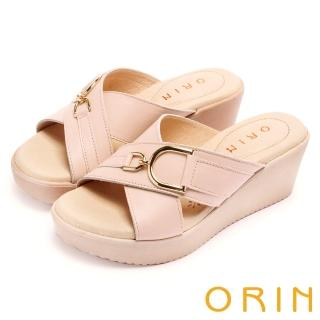 【ORIN】愜意渡假風情 馬蹄扣環牛皮交叉楔型拖鞋(粉紅)