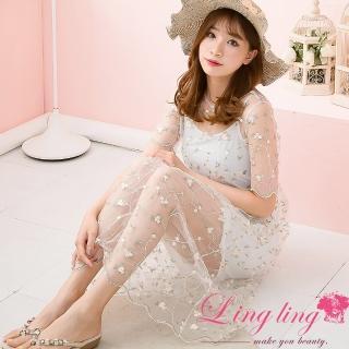 【lingling】網紗刺繡短袖洋裝+細肩帶背心兩件式洋裝PA3726(輕盈白)