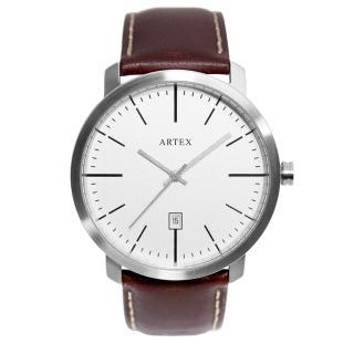 【ARTEX】ARTEX 5936真皮手錶-褐色/霧銀42mm 有日期窗