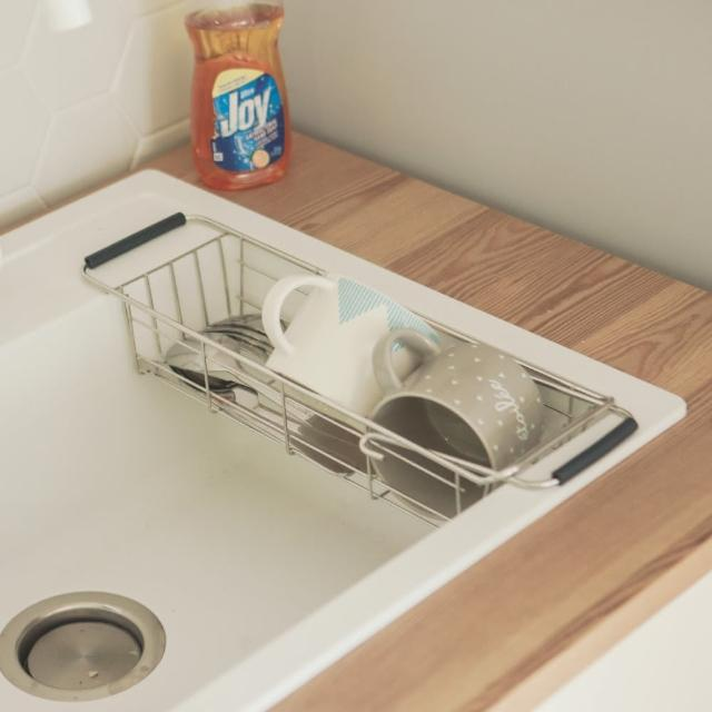 【完美主義】不鏽鋼伸縮水槽洗碗精掛籃/碗盤架/瀝水架/