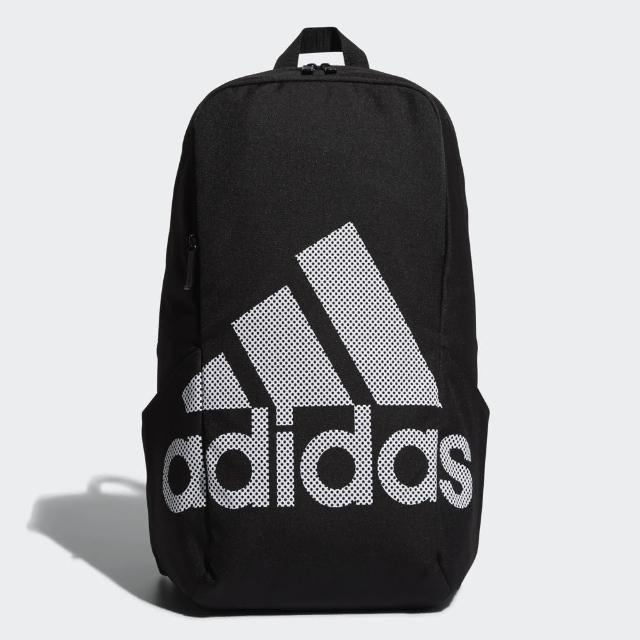 【adidas 愛迪達】.PARKHOOD BOS BACKPACK 黑色 三線 大字LOGO ORIGINAL 後背包(DW4282)