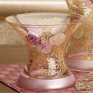 【Madiggan 貝斯麗】鬱金香系列 手工彩繪寬口玻璃花瓶-小(藍色.紫紅 雙色可選)