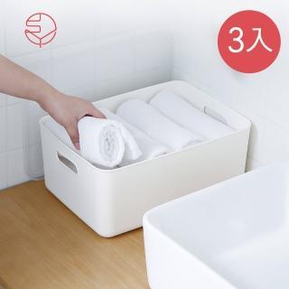 【日本霜山】無印風霧面附蓋把手收納盒-M-3入