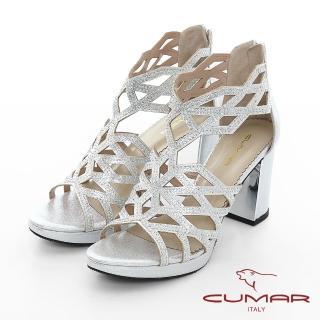 【CUMAR】情迷哈瓦那 - 菱形鏤空線條排鑽高跟涼鞋(銀)