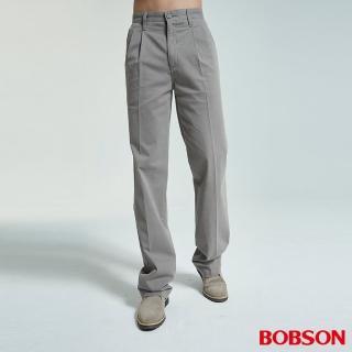 【BOBSON】男款超手感打摺灰卡其休閒褲(1712-85)