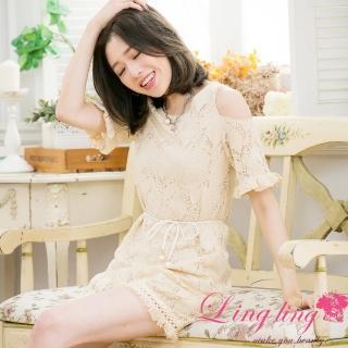 【lingling】葉形蕾絲荷葉袖露肩小洋裝PA3355(優雅杏)