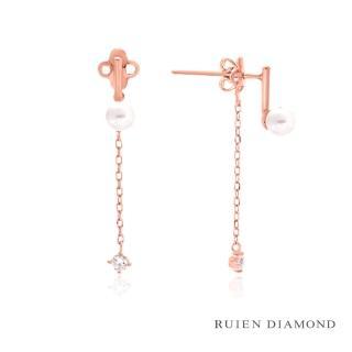 【RUIEN DIAMOND 瑞恩鑽石】韓國輕珠寶 14K耳環(玫瑰金 JE7567)