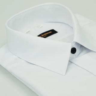 【金安德森】白色斜紋黑釦吸排窄版長袖襯衫-fast