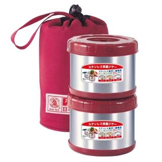 【Pearl Horse 寶馬】0.5L附提袋保溫便當盒(SHW-GL-500X2 紅色)