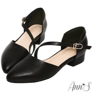 【Ann'S】瘦瘦的-延伸修長腳背斜帶低跟尖頭鞋-版型偏大(黑)