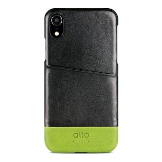 【alto 奧沰】iPhone XR 6.1吋皮革保護殼 Metro - 渡鴉黑/ 萊姆綠(iPhone 保護殼)