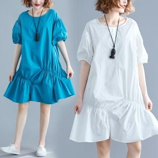 【Keer】俏皮可愛不規則皺褶縮口袖寬鬆洋裝L-XL(共三色)