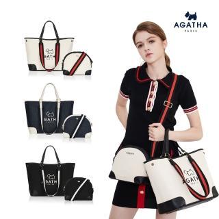 法國精品AGATHA帆布織帶托特包組