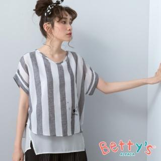 【betty's 貝蒂思】條紋繡兔子拼接雪紡上衣(黑色)