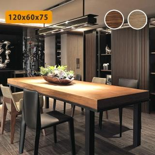 【Incare】原實木工業風加厚機能餐桌(2色可選/120*60*75cm/中大型材積)