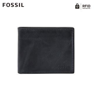 【FOSSIL】DERRICK 海軍藍真皮帶翻轉證件格RFID皮夾 男ML3681406
