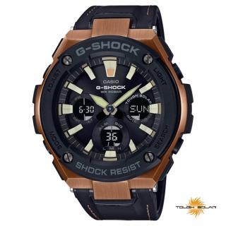 【CASIO 卡西歐】G-STEEL 系列太陽能金色離子IP腕錶-古銅(GST-S120L-1A)