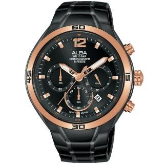 【ALBA】雅柏 街頭時尚三眼計時手錶-44mm/黑x金(VD53-X353SD/AT3G36X1)
