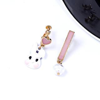 【HaNA 梨花】無耳洞/耳針款不對稱愛麗絲的兔子可愛耳環