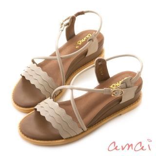【amai】浪漫花邊一字坡跟繞踝涼鞋(杏)