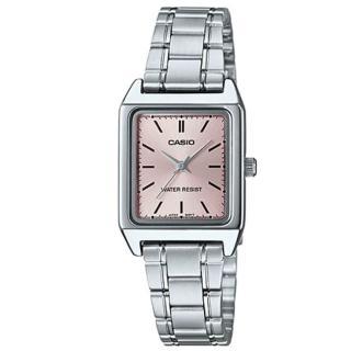 【CASIO 卡西歐】經典時尚方形不鏽鋼腕錶-羅馬橘紅面(LTP-V007D-4E)