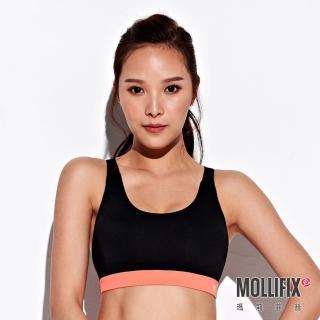 【Mollifix 瑪莉菲絲】小交叉美背運動內衣(黑+橘粉)