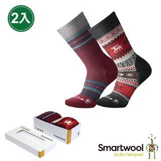 【SmartWool】禮盒★CHUP聯名系列襪組 男款 兩入(黑/紅)