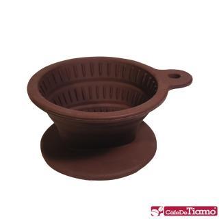 【Tiamo】矽膠摺疊濾杯附濾紙40入咖啡匙-咖啡色(HG2331)