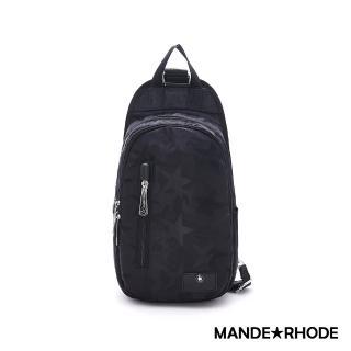 【MANDE RHODE 曼德羅德】卡莫雷茲-美系潮男風格多層單肩胸包 -迷彩黑(P321)