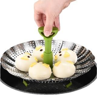 【PUSH!】餐具用品不銹鋼蒸架可伸縮折疊蒸籠蒸格多功能水果籃圓蒸盤(D177-1升級款)