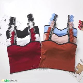 【Osun】螺紋美背睫毛吊帶可愛造型背心(附胸墊 / CE176-627)