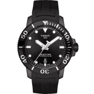 【TISSOT 天梭】Seastar 海洋之星陶瓷潛水機械錶-PVD/43mm(T1204073705100)