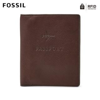 【FOSSIL】Travel 咖啡色真皮RFID護照夾 MLG0358201