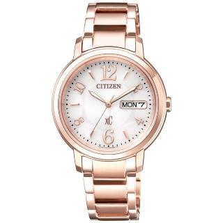 【CITIZEN 星辰】xC 光動能 浪漫甜心限定款時尚女錶-玫瑰金x白/32.5mm(EW2422-55A)