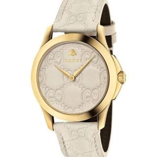【GUCCI 古馳】雙G皮紋手錶x白x38mm(YA1264033A)