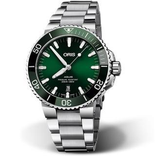 【ORIS 豪利時】AQUIS潛水機械錶(0173377304157-0782405PEB 綠)