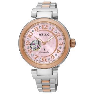 【SEIKO 精工】LUKIA 星月相伴時尚鏤空機械女錶-雙色/33.9mm(SSA828J1/4R38-01L0P)