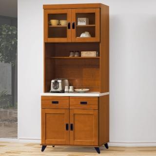 【AS】愛麗絲樟木色2.7尺石面餐櫃全組-82x40x202cm