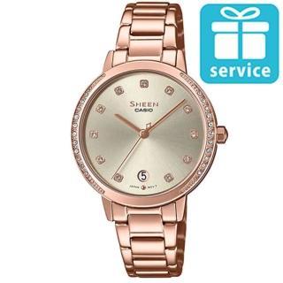 【CASIO 卡西歐】SHEEN 簡約氣質不鏽鋼錶-玫瑰金X香檳金(SHE-4056PG-4A)