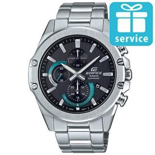 【CASIO 卡西歐】EDIFICE設計感輕薄三眼三針藍寶石玻璃鏡面不鏽鋼休閒錶-黑面(EFR-S567D-1A)