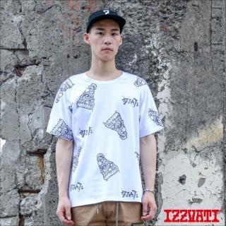 【IZZVATI】披薩星人連袖短T-白(品牌手繪短T)